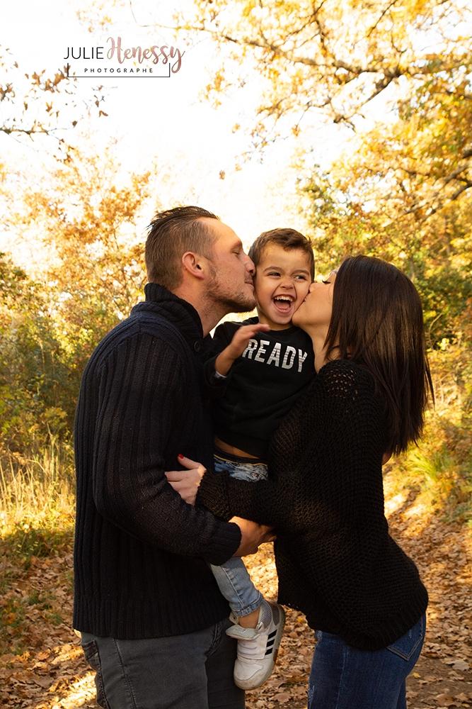 photographe, famille, extérieur, couple, nature, forêt